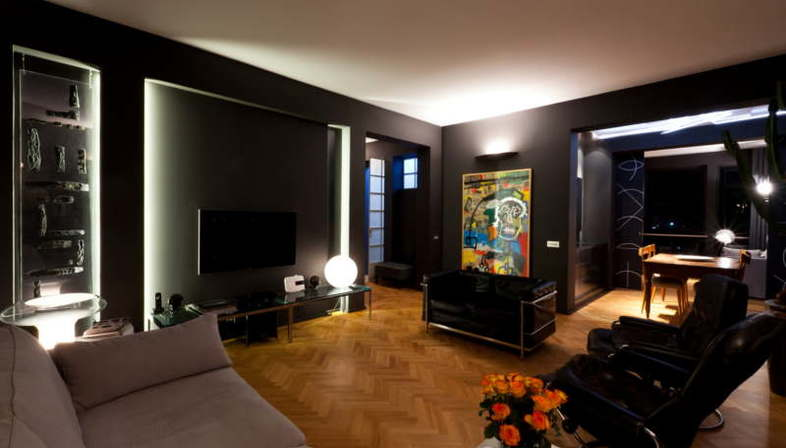 paolo carli moretti innenarchitektur fuer ein penthouse in ravenna floornature. Black Bedroom Furniture Sets. Home Design Ideas