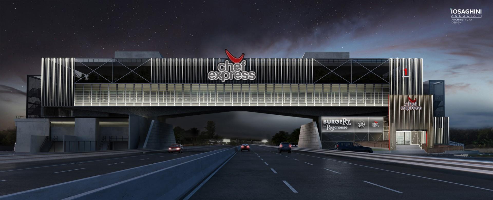 Iosa Ghini Associati neue Autobahnraststätte in Brückenbauweise in Novara