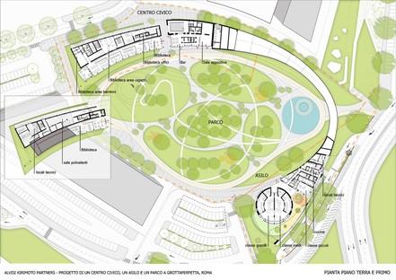 Alvisi Kirimoto: Mehrzweck-Bürgerzentrum, Kindergarten und Park in Rom