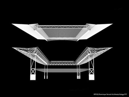 Dominique Perrault Dach für den Tennisplatz Suzanne Lenglen am Roland Garros Parigi