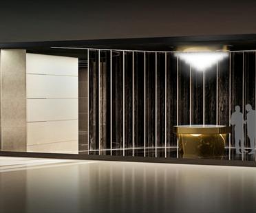 Cersaie der Stand von Iris nach einem Entwurf von Massimo Iosa Ghini