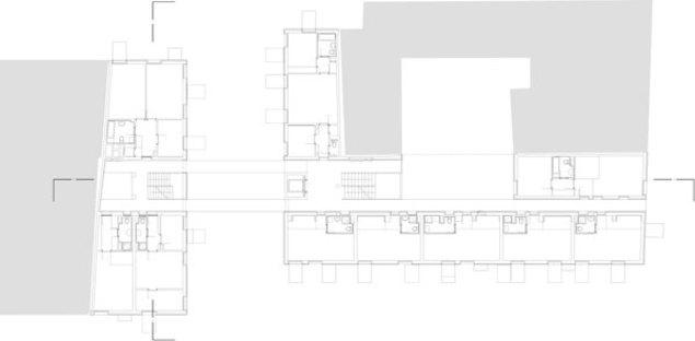 Grundriss des zweiten und des vierten Stocks
