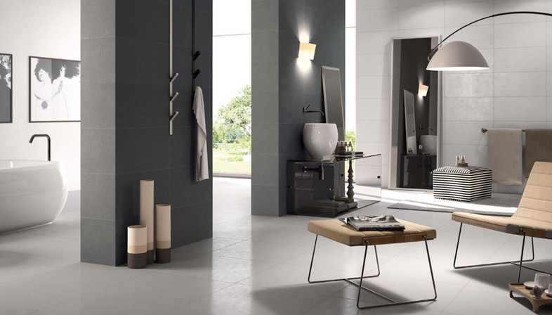 raum und licht im wohnzimmer die oberflaechen von porcelaingres floornature. Black Bedroom Furniture Sets. Home Design Ideas