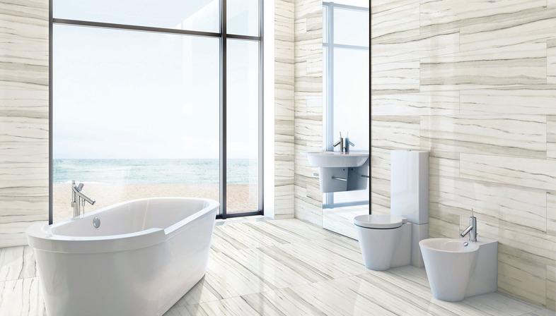 Das Badezimmer der Gegenwart mit den Oberflächen aus Feinsteinzeug von Stonepeak