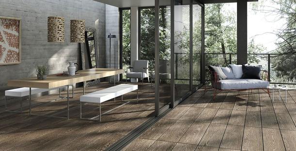 Verkleidungen von Porcelaingres für den Außenbereich: Stein-, Zement- und Holzoptiken