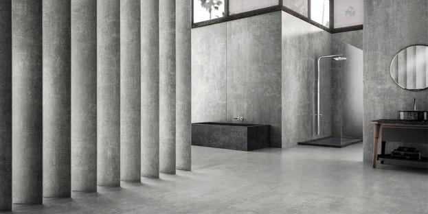 Große Platten mit spannenden Optiken: Zement, Harz und Metall. Hi Lite von Iris Ceramica