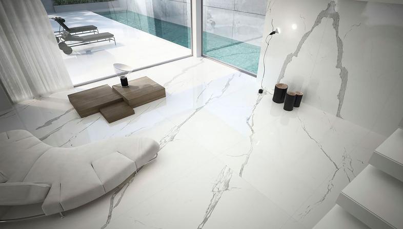 Weißer Marmor Ariostea: Wandfliesen und Einrichtungsgegenstände aus technischer Keramik
