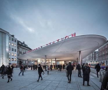 Pensiline di cemento spruzzato alla Nørreport Station a Copenhagen – COBE architects.