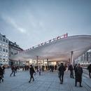 Vordächer aus Spritzbeton am Bahnhof Nørreport in Kopenhagen – COBE architects.