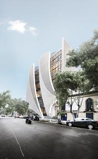 Fassade aus Polymerbetonziegeln in Mexico City