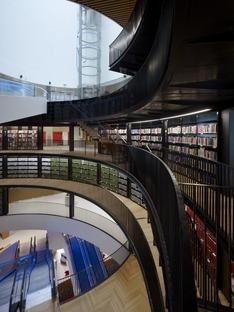 Die Fassade aus Stahlkreisen der Bibliothek von Birmingham von Mecanoo