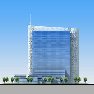 Der Air China Tower mit Aluminiumverkleidung, ein Projekt von AREP und IPPR